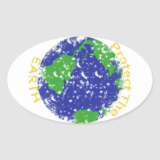 Protect the Earth Oval Sticker