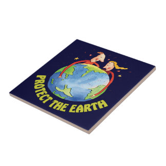 Protect the Earth People Small Square Tile
