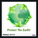 """Protect The Earth Wall Sticker<br><div class=""""desc"""">Illustration of the planet Earth in green tones with a leafy vine growing around it. Great design for environmentalist,  conservationist,  gardeners or anyone who loves the Earth and wants to keep it clean and green.</div>"""