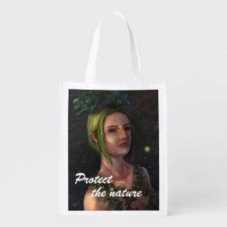 Protect The Nature Fantasy Painting Grocery Bag