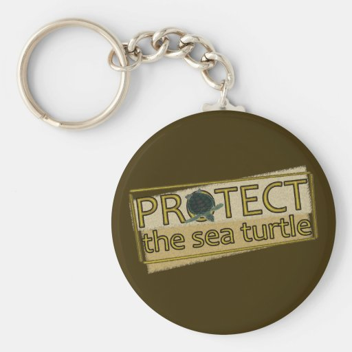 Protect the Sea Turtle Basic Round Button Keychain