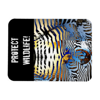 protect wildlife abstract zebra magnet
