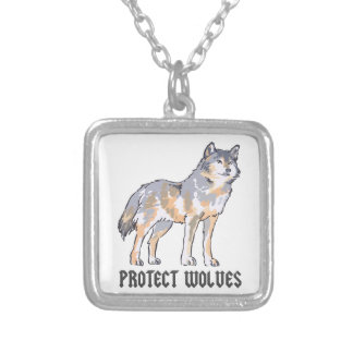 PROTECT WOLVES SQUARE PENDANT NECKLACE
