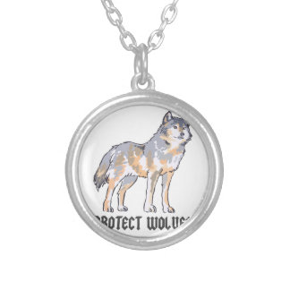 PROTECT WOLVES ROUND PENDANT NECKLACE