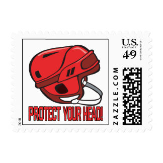 Protect Your Head Postage Stamp