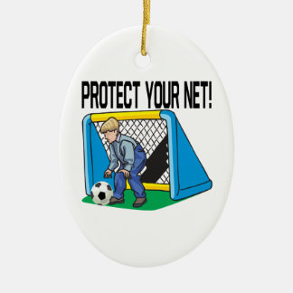 Protect Your Net Double-Sided Oval Ceramic Christmas Ornament