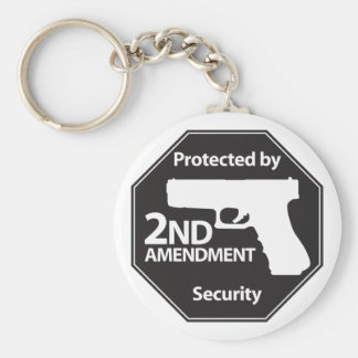 Protected by 2nd Amendment Basic Round Button Keychain