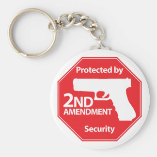 Protected by 2nd Amendment - Red Basic Round Button Keychain