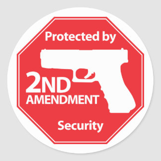 Protected by 2nd Amendment - Red Classic Round Sticker