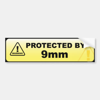 Protected by 9mm car bumper sticker