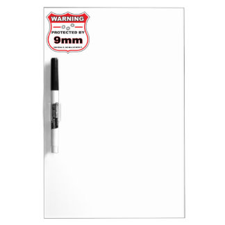protected by 9mm shield dry erase board