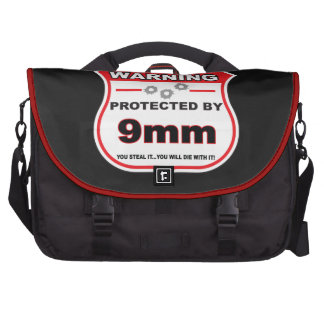 protected by 9mm shield commuter bag