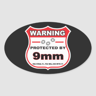 protected by 9mm shield oval sticker