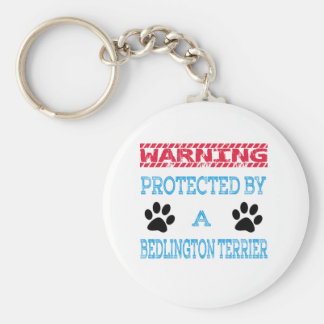 Protected By A Bedlington Terrier Dog Basic Round Button Keychain