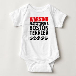 Protected By A Boston Terrier Baby Bodysuit