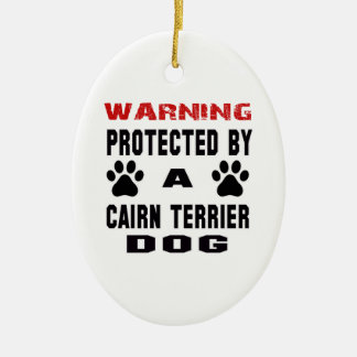 Protected By A Cairn Terrier Dog Double-Sided Oval Ceramic Christmas Ornament