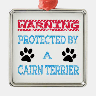 Protected By A Cairn Terrier Dog Square Metal Christmas Ornament