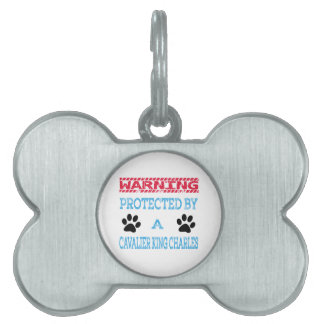 Protected By A Cavalier king charles Dog Pet Tags