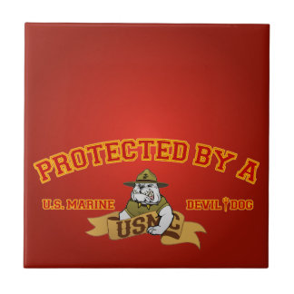 Protected By A Devil Dog Ceramic Tile
