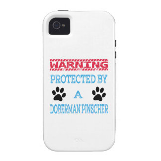 Protected By A Doberman pinscher Dog Vibe iPhone 4 Cases