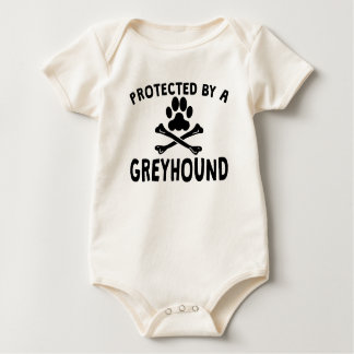 Protected By A Greyhound Baby Bodysuit