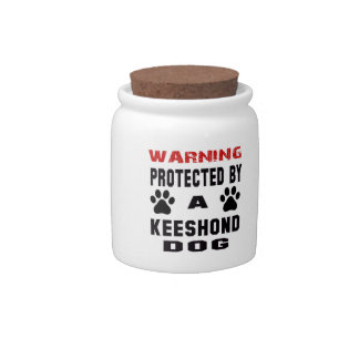 Protected By A Keeshond Dog Candy Jar