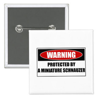 Protected By A Miniature Schnauzer Pinback Button