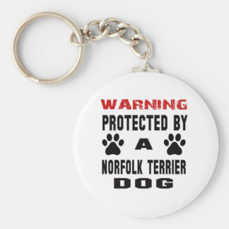 Protected By A Norfolk Terrier Dog Basic Round Button Keychain