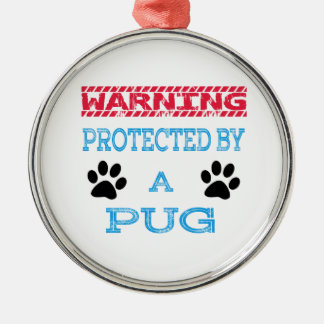 Protected By A Pug Dog Round Metal Christmas Ornament