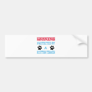 Protected By A Scottish Terrier Dog Car Bumper Sticker