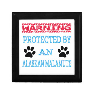 Protected by an Alaskan Malamute Dog Trinket Box