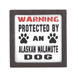 Protected by An Alaskan Malamute Dog Premium Trinket Boxes