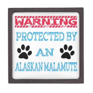Protected by an Alaskan Malamute Dog Premium Keepsake Boxes