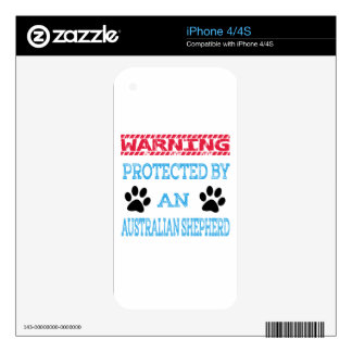 Protected by an Australian Shepherd Dog Skins For The iPhone 4S
