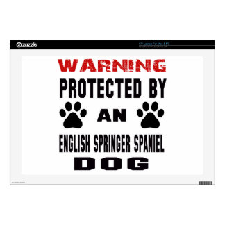 """Protected by An English Springer Spaniel Dog 17"""" Laptop Decals"""