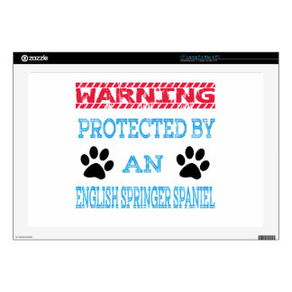 """Protected by an English Springer Spaniel Dog 17"""" Laptop Skins"""
