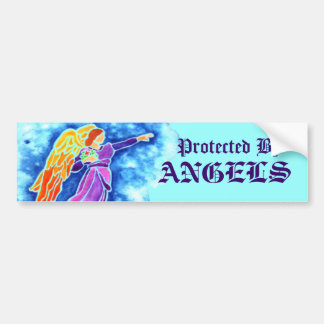Protected By Angels Bumper Sticker Car Bumper Sticker