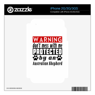 Protected By Australian Shepherd Decals For iPhone 3GS