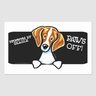 Protected by Beagle Paws Off Rectangular Sticker