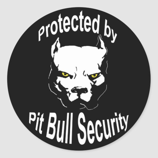 Protected by Pit Bull Security Round Stickers
