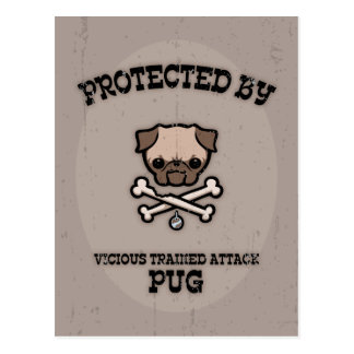 Protected By Pug Postcard