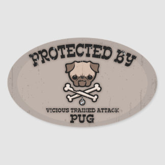 Protected By Pug Oval Stickers