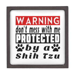 Protected By Shih Tzu Premium Trinket Boxes