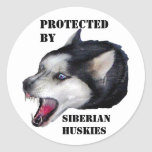 PROTECTED BY, SIBERIAN HUSKIES STICKER