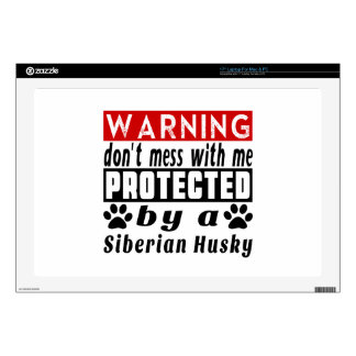 Protected By Siberian Husky Laptop Decal