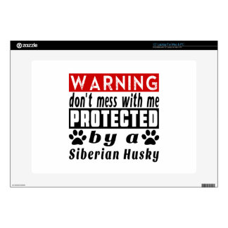 Protected By Siberian Husky Laptop Skins