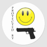 Protected by Smiley Face Round Sticker