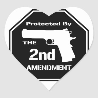 Protected By The Second Amendment (Black) Heart Sticker