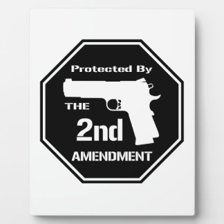 Protected By The Second Amendment (Black) Display Plaque