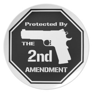 Protected By The Second Amendment (Black) Plate